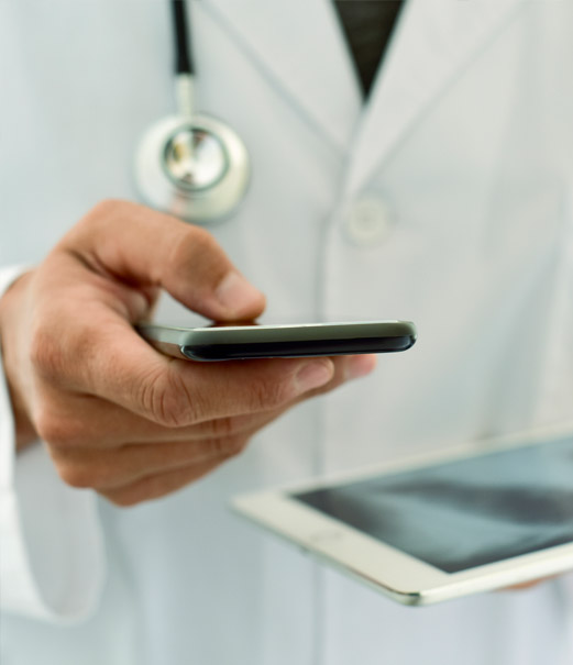 Physician using app
